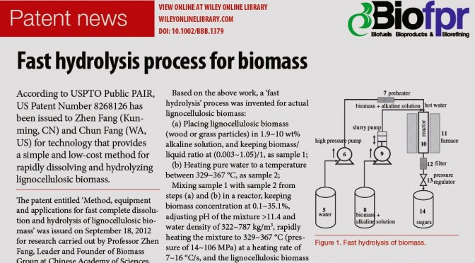 U.S. patent #: 8268126, Fast hydrolysis process for biomass